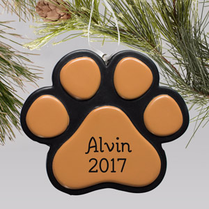 Engraved Paw Print Pet Ornament | Personalized Pet Ornament