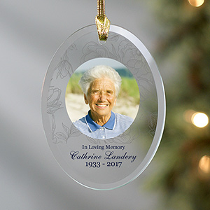 Personalized Floral Photo Memorial Glass Ornament | Photo Memorial Ornaments
