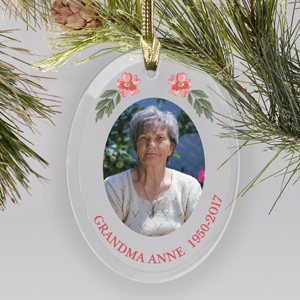 Personalized Pink Flower Photo Memorial Ornament | Memorial Ornaments