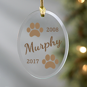 Personalized Paw Prints Memorial Glass Ornament | Pet Memorial Ornaments