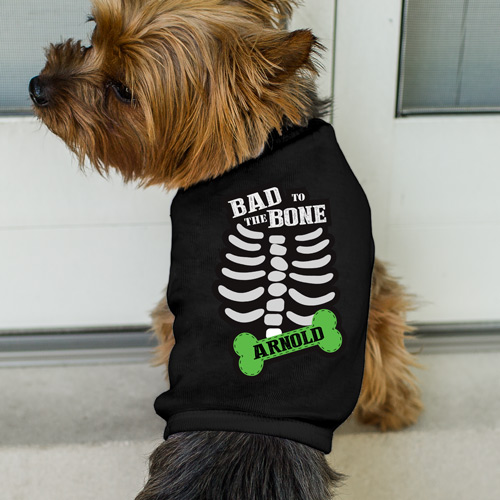 Personalized Bad to the Bone Black Dog T-Shirt | Personalized Dog Shirts