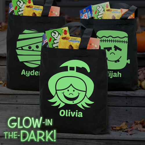 Personalized Glow in the Dark Halloween Characters Trick or Treat Bag | Halloween Glow In The Dark Bag