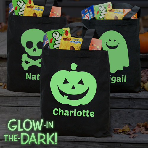 Personalized Glow in the Dark Halloween Trick or Treat Bag Pumpkin, Skull & Ghost | Glow In The Dark Halloween Bag