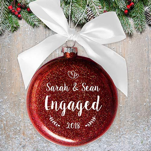 Personalized Engaged Glass Ornament | Personalized Engagement Ornaments