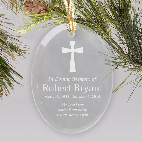 Engraved In Loving Memory Cross Oval Glass Ornament | Memorial Christmas Ornaments