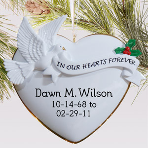 In Our Hearts Personalized Ornament | Memorial Christmas Ornaments