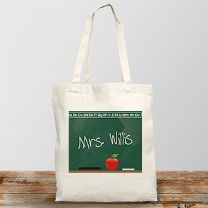 Personalized Teacher Canvas Tote Bag Chalkboard Design | Personalized Teacher Gifts