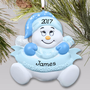 Personalized Snowbaby Boy Ornament | Baby's First Christmas Ornaments