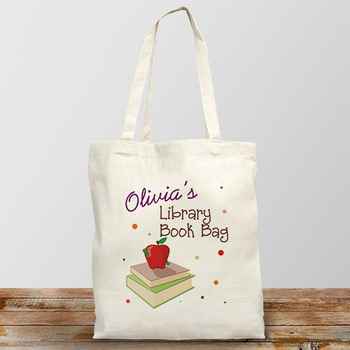 Personalized Library Book Tote Bag | Personalized Totes