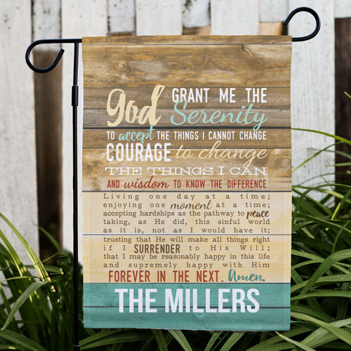 Personalized Serenity Prayer Garden Flag | Personalized Housewarming Gifts