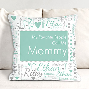 Personalized Favorite People Call Me Word-Art Throw Pillow | Mother's Day Personalized Gifts