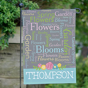 Personalized Spring Word-Art Garden Flag