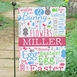 Personalized Easter Word-Art Garden Flag
