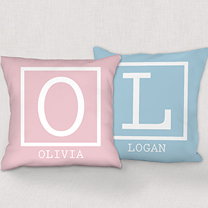 Single Initial Personalized Throw Pillow