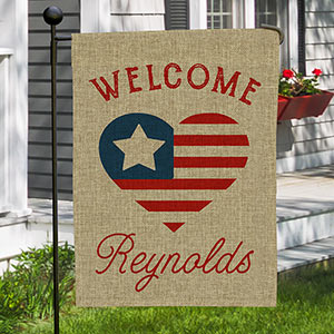 Personalized Patriotic Heart Burlap Garden Flag