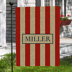 Personalized Patriotic Stripes Burlap Garden Flag  830102722B