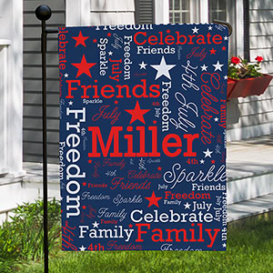 Personalized Patriotic Word-Art Garden Flag