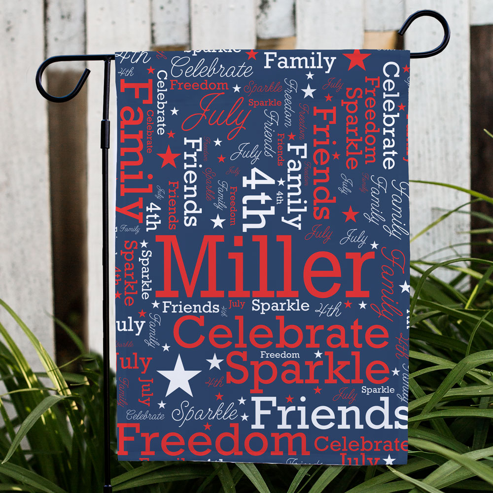 Personalized Patriotic Word-Art Garden Flag | Personalized Word Art