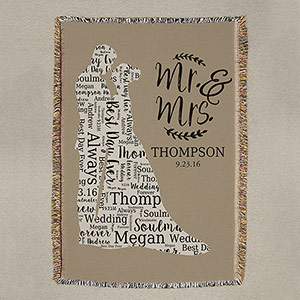 Wedding Silhouette Word-Art Afghan WSA