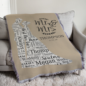 Wedding Silhouette Word-Art Afghan | Personalized Afghan