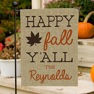 Happy Fall Y'all Burlap Flag 830106082BX