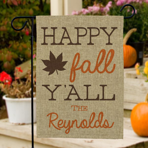 Happy Fall Y'all Burlap Flag | Personalized Garden Flags