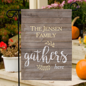 Personalized Family Gathers Here Garden Flag | Good Housewarming Gifts