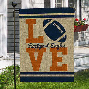 Personalized Football Love Burlap Garden Flag