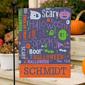 Personalized Halloween Word-Art Garden Flag