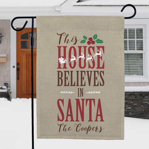 Personalized Believes In Santa Garden Flag | Personalized Christmas Flags