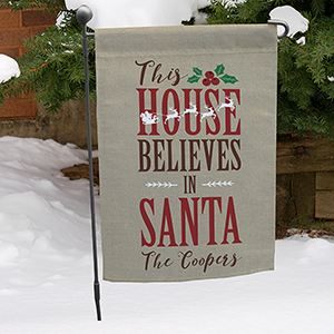 Personalized Believes In Santa Garden Flag 830106462X