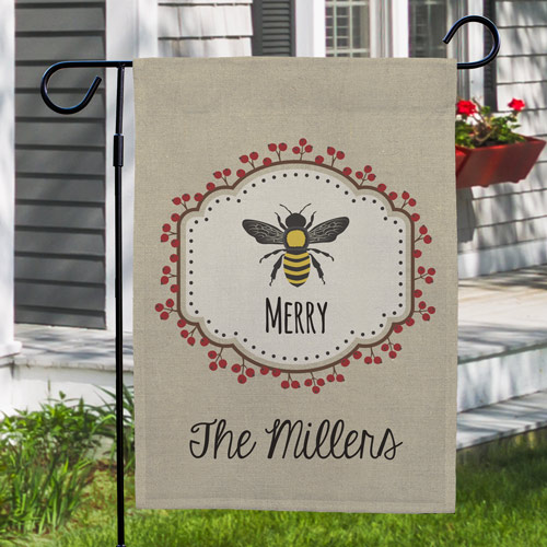 Personalized Bee Merry Garden Flag | Personalized Christmas Flags
