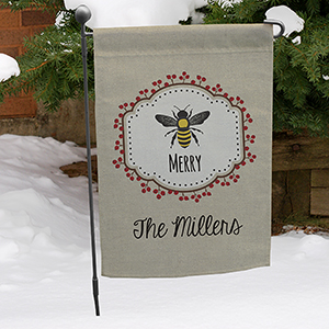 Personalized Bee Merry Garden Flag