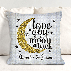 Personalized To The Moon and Back Throw Pillow 830110033X