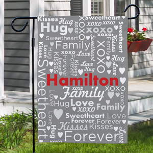 Valentine Word Art Garden Flag | Personalized Garden Flag With Names
