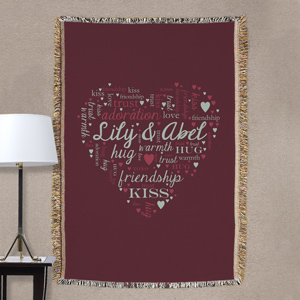 Heart Word-Art Tapestry Throw | Romantic Home