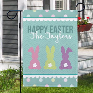 Bunny Tails Personalized Easter Garden Flag | Spring Flags
