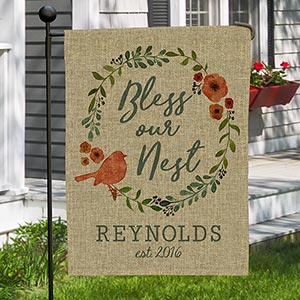 Personalized Bless Our Nest Burlap Garden Flag | Personalized Housewarming Gifts