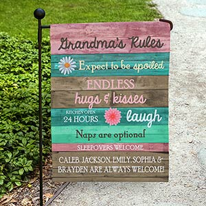 Personalized Grandma's Rules Garden Flag 830111542X