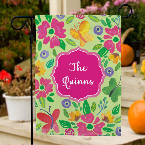 Butterflies and Flowers Personalized Garden Flag | New Home Gift Ideas