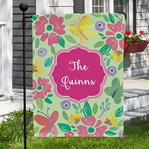 Personalized Butterflies and Flowers Garden Flag | New Home Gift Ideas
