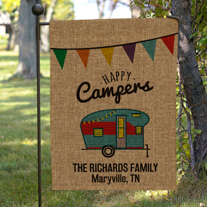 Personalized Happy Camper Burlap Garden Flag 830111622BX
