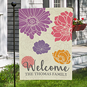 Personalized Welcome Floral Garden Flag | Housewarming Gift Ideas