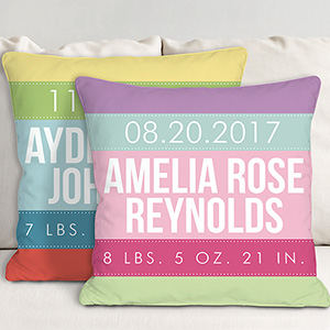 Personalized Baby Stripes Throw Pillow | Gift for Baby