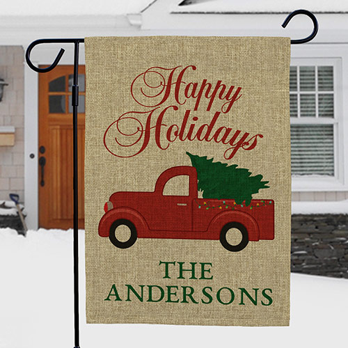 Personalized Happy Holidays Burlap Garden Flag | Christmas Truck Personalized Flag
