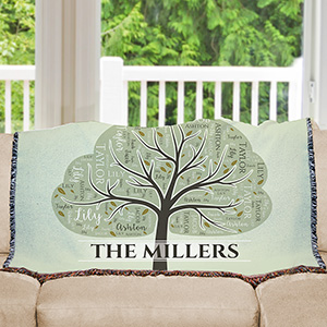 Personalized Family Tree Word-Art Tapestry Throw | Personalized Blankets
