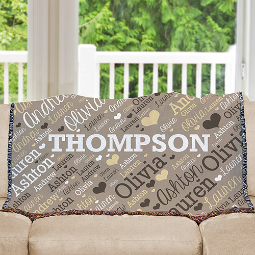 Personalize Family Name Word-Art Tapestry Throw | Personalized Blankets