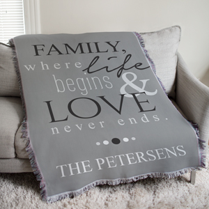 Personalized Family Life and Love Tapestry Throw | Personalized Tapestry Throw Blanket
