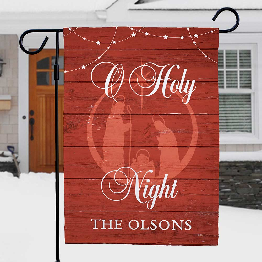 Personalized O Holy Night Garden Flag | Personalized Christmas Decorations