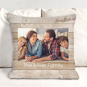 Photo Rustic Pallet Personalized Throw Pillow